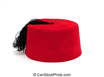 red fez on white