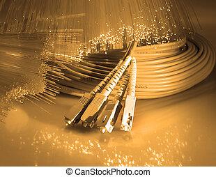 red, fibra, óptico, cable