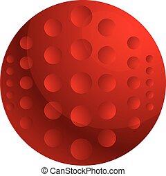 Red field hockey ball icon, cartoon style