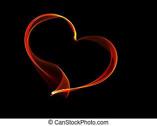 Red fiery heart