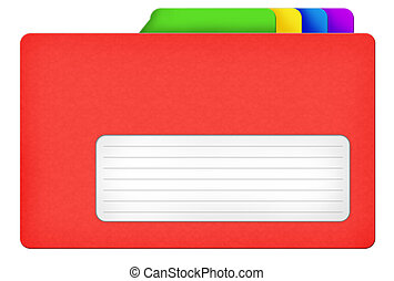 Red file folder illustration with colored bookmarks and blank area isolated over white background