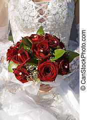 red fine rose in wedding bouquet