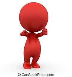 red fingerpointing thump up 3d people