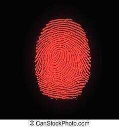 Red fingerprint on black background, vector illustration