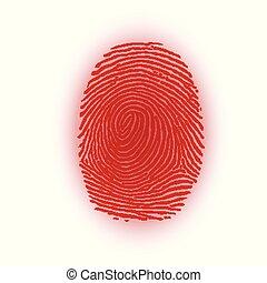 Red fingerprint on white background, vector illustration