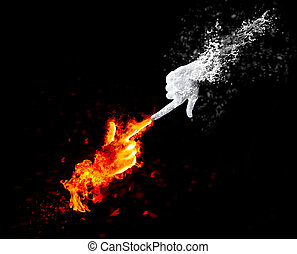 Red fire and white ice as human hands