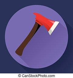 Red fire ax icon flat style