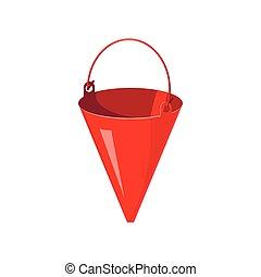 Red fire bucket icon, cartoon style