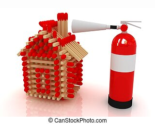 Red fire extinguisher and log house from matches pattern on...