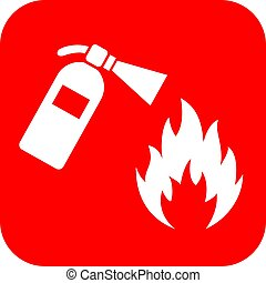 Red fire extinguisher banner - Red square fire extinguisher...