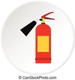 Red fire extinguisher icon circle