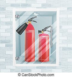 Red Fire Extinguisher In Wall Niche Vector. Metal Glossiness 3D Realistic Red Fire Extinguisher Illustration