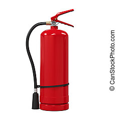 Red Fire Extinguisher isolated on white background. 3D...