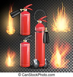 Red Fire Extinguisher Vector. Fire Flame Sign. Isolated On Transparent Background Illustration