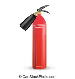 Red Fire Extinguisher Vector. Metal Red Fire Extinguisher Isolated Illustration