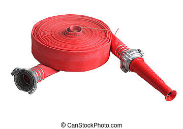 Red fire fighting hose soft pipe, Isolated on white ...