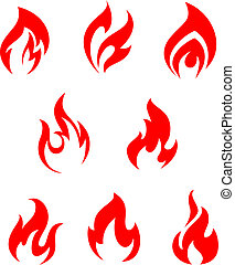 Red fire flames - Set of red fire flames for warning symbols