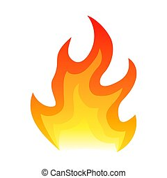 Red fire flat icon isolated on white background for danger concept or logo design. Flame and red fire icon.