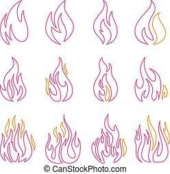 Red fire flat icons and signs set isolated on white background for danger concept or logo design
