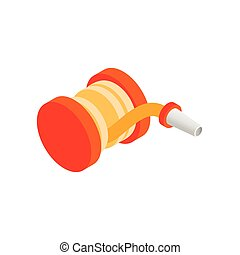 Red fire hose winder roll reels isometric 3d icon