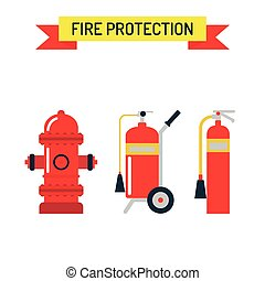 Red fire hydrant emergency department flat vector illustration isolated on white.