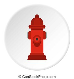 Red fire hydrant icon circle