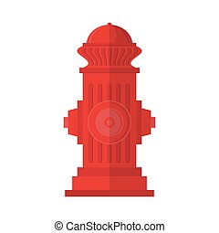 Red Fire Hydrant Icon Isolated on White Background. Flat Style Logo for Fire Fighting