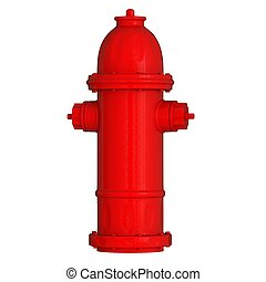Red fire hydrant on a white background. Isolate.