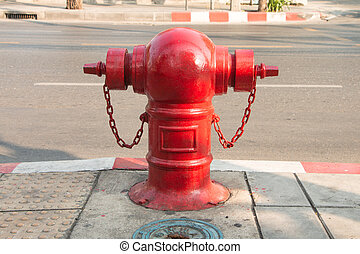 Stop fire with water hydrant, big water pump on street