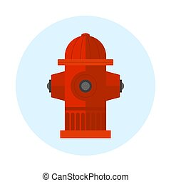 Red fire hydrant vector illustration metal pressure prevention street hose water emergency equipment.