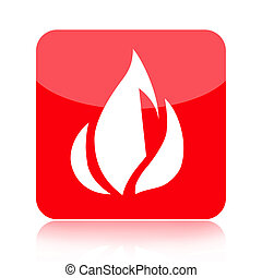 Red fire icon illustration isolated on white background