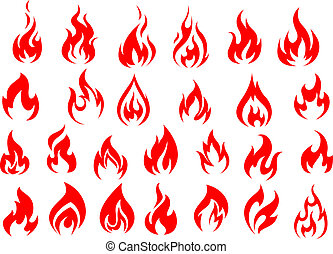 Red fire icons and pictograms set isolated on white...