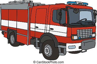 Red fire patrol truck - Hand drawing of a red fire truck -...