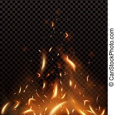 Red Fire sparks vector flying up. Burning glowing particles. Flame of fire with sparks in the air isolated on a black transparent background.