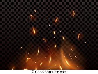 Red Fire sparks vector flying up. Burning glowing particles. Isolated on a black transparent background.