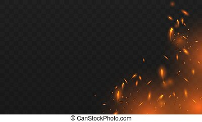 Red Fire sparks vector flying up. Burning glowing particles. Red and yellow light effect. Concept of sparkles, flame and light. Vector illustration EPS10
