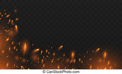 Red Fire sparks vector flying up. Realistic isolated fire effect with smoke for decoration and covering on the transparent background. Red and yellow light effect.