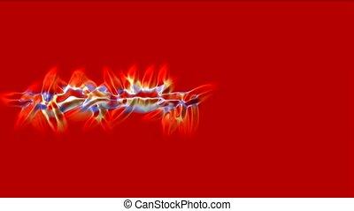 red fire stripe field, rays laser
