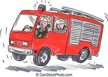 Red Fire Truck Fireman Caricature
