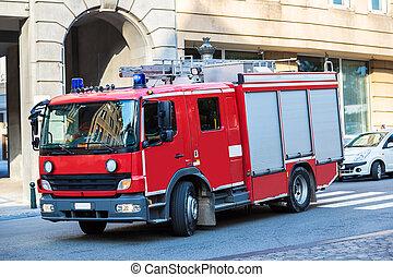 Red fire truck in Brussel