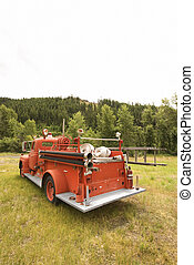 Red fire truck.