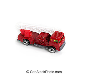 red fire truck toy on white background