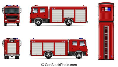Red fire truck vector mockup