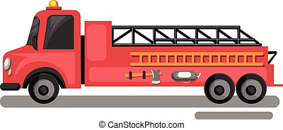 Red fire truck with yellow laders vector illustration on white background.