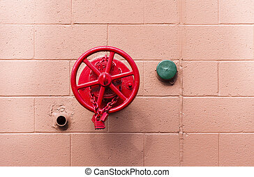 Red Fire Valve and Green Cover