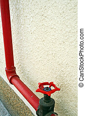 Red firehose - Red fire hose reel for emergency firefighting