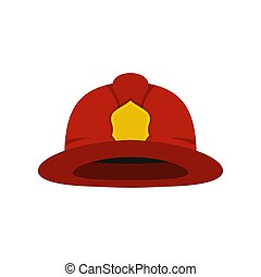 Red fireman helmet icon, flat style