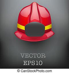 Red fireman helmet vector background - Background of Red ...