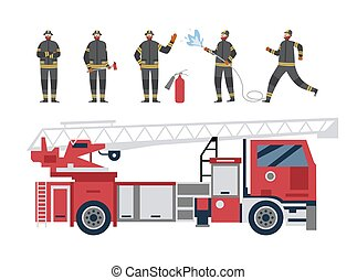 Red firetruck and firefighters, flat cartoon vector illustration isolated