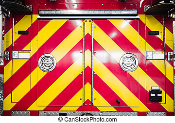 Red Firetruck Details of the Rear Pattern
